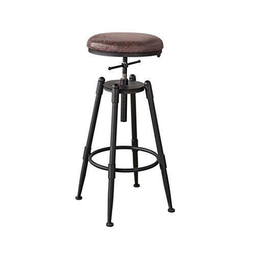 Guo shop- Simple, fer, cuir artificiel coussin chaise haute créative chaise européenne Vintage bar tabouret hauteur 68-90 cm Bonne chaise