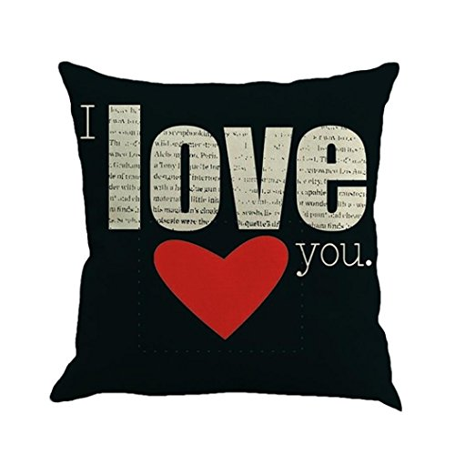 Taies d'oreiller Quistal Cotton Linen Square Throw Pillow Case Decorative Cushion Cover Pillowcase for Sofa Amour Doux Printed 45cm*45cm, La Saint Valentin (A)