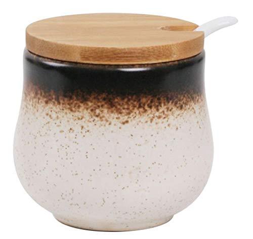 Ceramics Sucrier Japonais Pot à sel Poivre avec Cuillère Couvercle free blanc