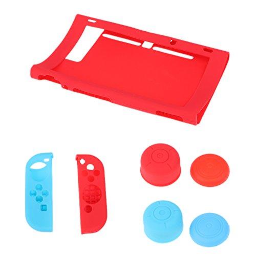 Preisvergleich Produktbild Gazechimp 7In1 Silikon Gehäuse Schutzhülle Abdeckung Thumbstick Kappen für Nintendo Switch Joy-Con - Rot