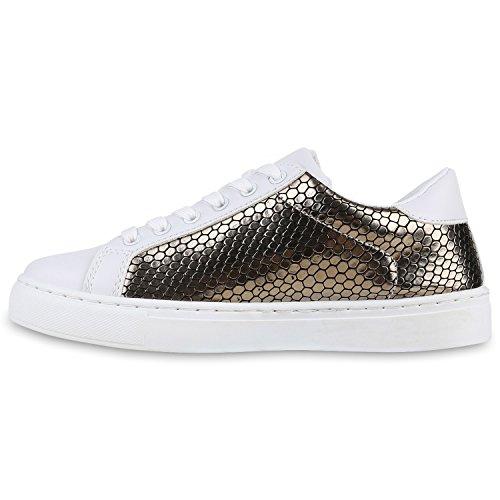 Sneakers Low Damen Weiße Turnschuhe Prints Metallic Freizeit Gold