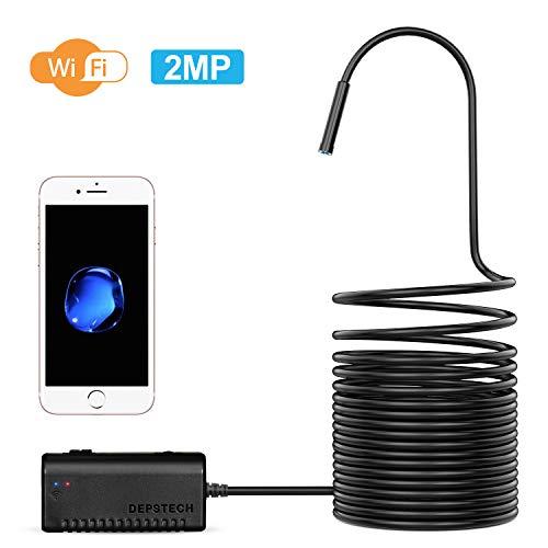 DEPSTECH WiFi Endoskop, 2.0 Megapixel HD Inspektionskamera Schlangenkamera, IP67 Wasserdichte Endoskopkamera für Android und iOS Smartphone, iPhone, Samsung, Tablet -Schwarz (3.5M)
