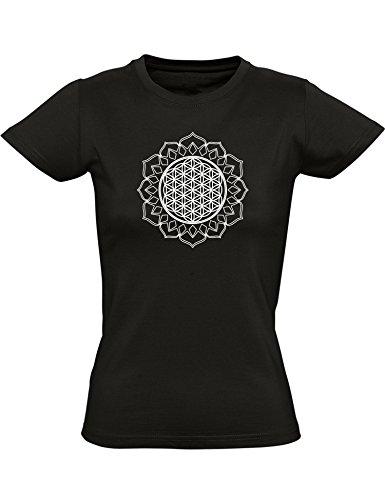 T-Shirt: Blume des Lebens - Mantra - Yoga Shirt - Tailliert - Frau-en - Damen - Sport - Meditation - Fitness - Gym - Zen - Hindusimus - Indien - Buddha - Dharma - Geschenk - Chakra - Soul - Relax (L)