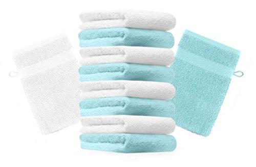 Betz lot de 10 gants de toilette taille 16x21 cm 100% coton Premium couleur turquoise, blanc