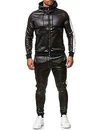 ArizonaShopping Herren Trainingsanzug Leder Optik Streifen Streetwear  Tracksuit Jogginganzug a37be247f2