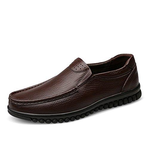 Herren Driving Style Loafer Wave Sohle Mokassins Leder Hollywood Schuhe. Leather Shoes (Color : Brown Velvet, Größe : 41 EU) -