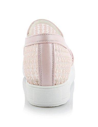 Chaussures Femme Shangyi - Mocassins - Loisirs / Formel / Décontracté - Plateau / Creepers / Pointe Arrondie - Plateau - Dentelle-noir / Rose / Blanc