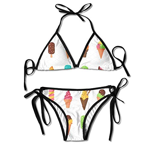Azfaiop Colorful Ice Cream Women's Sexy Bikini Set Swimsuit Bathing Suit Triangle Swimwear - Sexy Ice Cream