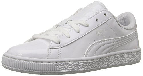 Puma Basket Classic Patent Jr Mädchen US 6 Weiß Breit Turnschuhe (Mädchen-patent Schuhe)