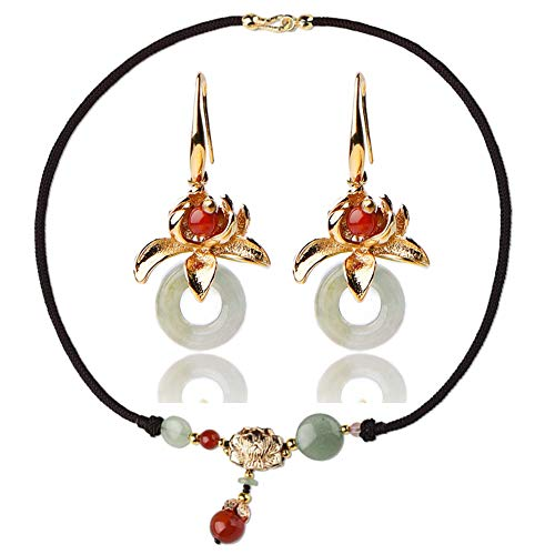 Udecoroption Jade Pendant, Women Pendant Halskette mit Jade Beads und Gold Hook Drop Earrings für Sensitive Earrings Kostüm-Schmuck-Set für Spring Tops Like V Neck Roll up Sleeve Button Down Blouses (Jade Womens Kostüm)