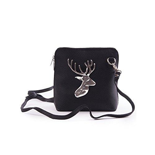 Almbock Trachten-Tasche Mia aus echt Leder - in schwarz mit alt-silberner Hirsch-Applikation, originelle Hand-Tasche, für Damen, modern Hand Taschen