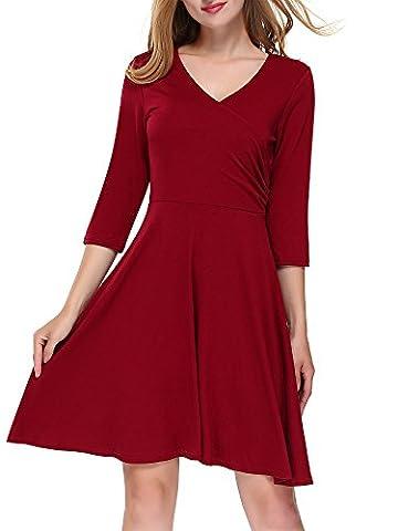 DKBAYA Damen Herbst Wickelkleid 3/4 Arm V-Ausschnitt Tailliert A-Linie Kleid Jerseykleid mit Falten Kleider Weinrot Small