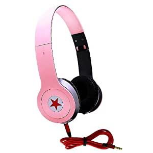 CellBig Crystallized Stereo Smashing Pink Portable Headphones Earphone Headset Hands Free Headband Super Bass Effect On Ear Design Included Detachable AUX Cable Lead Wire For Your HTC Flyer Wi-Fi / Freestyle / Glacier / Gold / Google Nexus One / Gratia / A6380 / HD mini / HD2 T8585 / HD3 / HD7 / HD7S