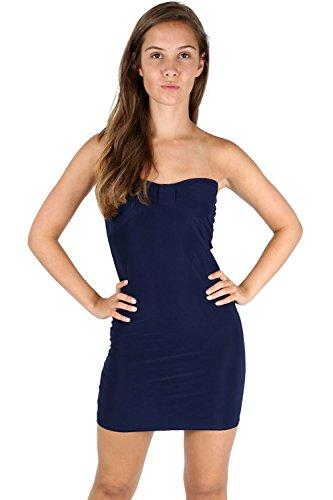 Damen Bow Knoten Vorne Ärmellos Dehnbar Schmal Tunika Enganliegend Mini Kleid Übergröße Marineblau