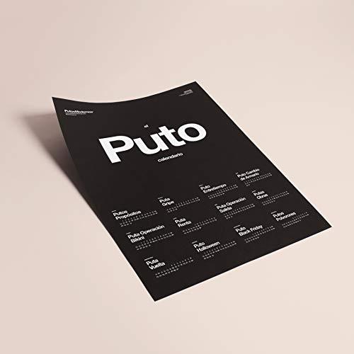 Putos Modernos - Fisura PM0868 Calendario 2019 Pared 'El Puto Calendario 2019' 50x70 cm, Cartulina Negra Gramaje 180, Idioma Español