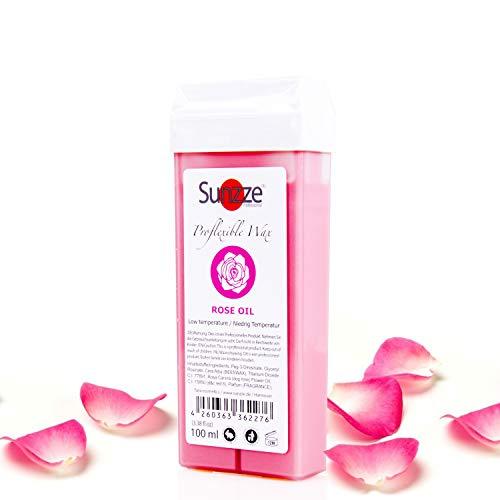 Sunzze Proflexible Creamy Rose Oil Niedrig Temperatur Wachs für die Enthaarung im Intim, Achsel, Bein, Brust, Arm und Rückenbereich mit 100 ml Inhalt Wachspatrone.