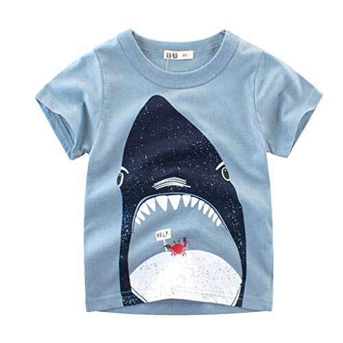 Winkey Kids Set, Kleinkind Kinder Baby Trend Casual Boy Cartoon gestreiften Fisch T-Shirt Shorts Kostüm - Baby Boy Fisch Kostüm