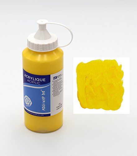 Magi® Künstler-Acrylfarbe je 500 ml, in 24 feinen Farbtönen, freie Farbwahl, Acryl, Malfarbe im Dosiergebinde (03-mittelgelb)