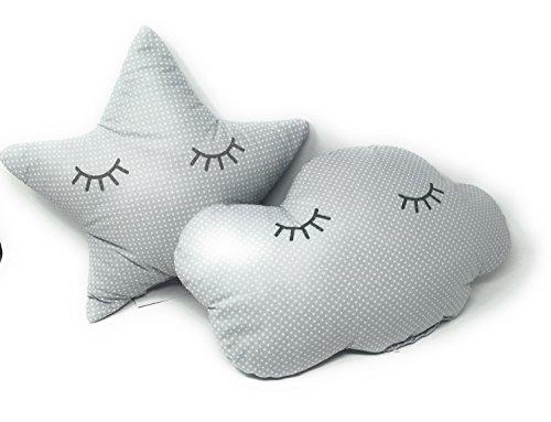2 Cojines Bebe Decorativos Nube y Estrella Durmiendo Ideal para cuna - Danielstore Gris
