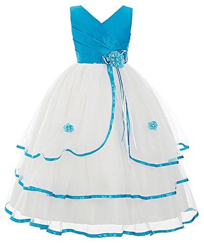 Kleid Schichten Welle Festzug Brautjungfer mit Blumen Blau 8-9 Jahre CL8937-2 ()