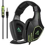 [2017 SUPSOO Multi-Plattform Xbox ein PS4 Gaming Kopfhörer] SUPSOO G820 Bass Gaming Kopfhörer mit Noise Isolation Mikrofon für neue Xbox ein PS4 PC Laptop Mac iPad iPod (schwarz & grün)