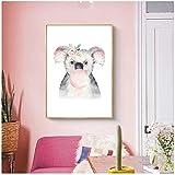 Juabc Acquerello Cartoon Koala Animale Tropicale, Nursery Decor Canvas, Quadri Poster E Stampa...