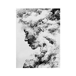 Moderne Display08Smoky Mädchen, das Bild Leinwand Kunstdruck Gemälde Poster für Zuhause, grau, 50 x 70 cm