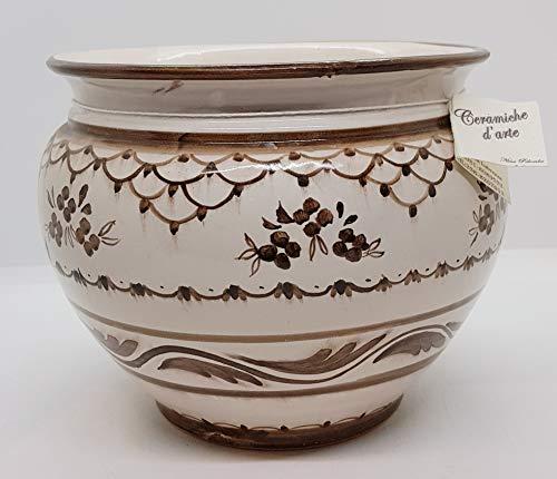 Cachepot Linea Classica Marrone diametro 16 x 18,5 Handmade Le Ceramiche del Castello Made in Italy