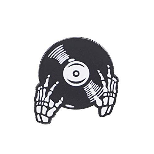 Seba5 Home Wunderschöne Brosche Pins-Coole Halloween Skeleton Hand Musik Vinyl Record Abzeichen Hemdkragen Brosche Pin Liebhaber Frauen Kreatives Geschenk ☆ (Color : Black)