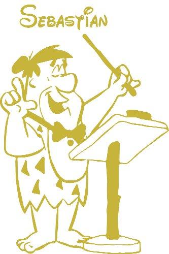 Flintstones, Größe 40 cm Breite, 60 cm Höhe Farbe Metalic Gold- Baby-Kinderzimmer, Wandaufkleber, Personalisierte Flintstones Aufkleber, Kinderzimmer Aufkleber, Flintstones decal, nach dem Kauf schicken Sie uns Mitteilung mit Ihrem Namen ()