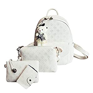 OneMoreT – 4 mochilas de piel sintética para mujer, blanco