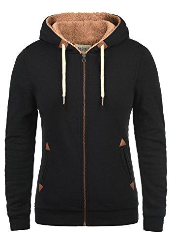 DESIRES Vicky Pile-Zip Damen Sweatjacke Cardigan Sweatshirtjacke Mit Teddy-Futter, Größe:M, Farbe:Black (9000)
