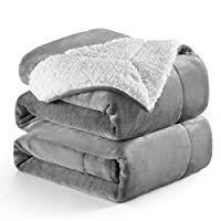 Bedsure Sherpa Blanket Silver Grey Double/Twin Size (150 x 200cm) Fleece Bed Blankets Warm Fluffy Reversible Microfiber Solid Blankets for Bed and Couch