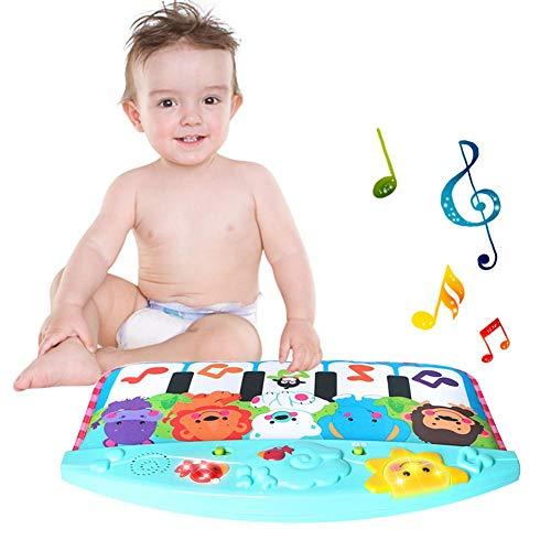 thorityau Baby Fußklavier, Kick 'n Play Piano Babyspielzeug Niedliches Tierpedal Klavier Früherziehung Spielzeug Mit LED-Licht Und Multifunktionsmusik