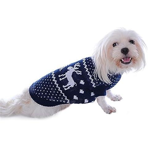 Pet Dog Costume di Santa Elk Maglione per Natale Halloween,Blu