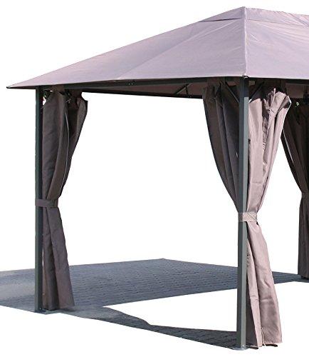 Grasekamp 4 Seitenteile zu Pavillon Nizza 3x4m Taupe Sichtschutz Seitenschals