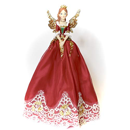Schiaccianoci natalizio rosso e oro per albero di Natale fata angelo grande