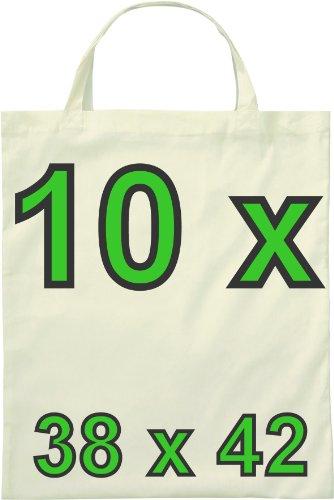 10 Baumwolltaschen umweltfreundliche Einkaufstaschen mit 2 kurzen Henkeln im Format 38 x 42 cm naturfarben von notrash2003
