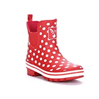 Evercreatures Polka Dot Meadow Ankle Wellies UK 8/EU 41 Red