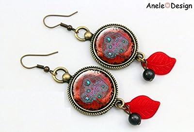 Boucles d'oreille feuille magique rouge bleu noir dentelle vintage perles feuille rouge