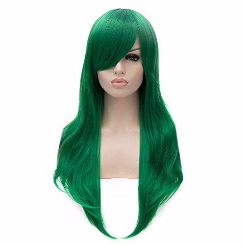 Art Und Weise Der Frauen Grün 60Cm Lange Gerade Perücken Cosplay Partei-Kostüm Volle Haarperücke
