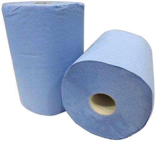 Preisvergleich Produktbild 2x Putzrolle blau 2-lagig 1000 Blatt 36x36 cm perforiert saugstark Reinigunstücher Putzpapier Wischtücher