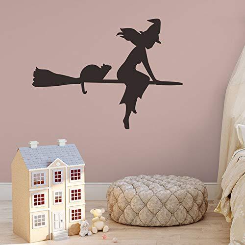 YUXAN Wandaufkleber Halloween Fliegende Hexen Wohnzimmer Wand Fenster Outdoor Decor Hexe Silhouette Vinyl Aufkleber Abnehmbare Kunstwand (Halloween Outdoor-leuchten Decor)