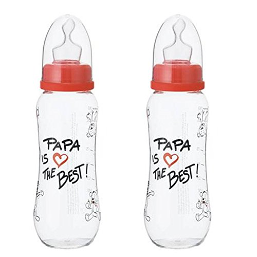 "BIBI SWISS ""PAPA IS THE BEST"" - No.1074441 - 2x Baby Flasche, Anticolic, Natural/ Dental (250ml)"