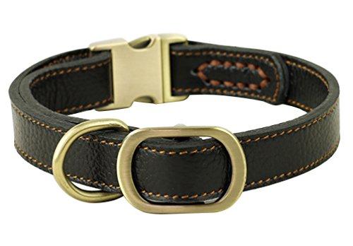 JIngwy Natur Echt Leder Halsband für Hunde/Tier 3Größen, erhältlich für Kleine und Große Hunde/Tier 2Farben Braun und Schwarz, M, Schwarz -