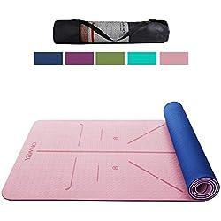 YAWHO Colchoneta de Yoga Esterilla Yoga Material medioambiental TPE,Modelo:183cmx66cm Espesor:6milímetros,Tapete de Deporte Grande y Antideslizante,Correas y Mochilas como Regalos (Light Pink)