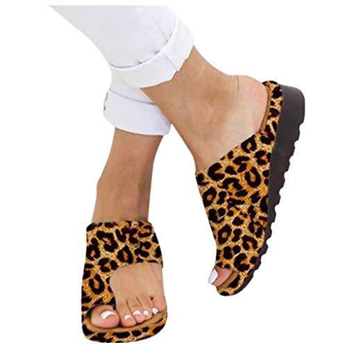 Dorical Damen Sandalen Plattform Pantoletten Bequeme Zehentrenner Hausschuhe Sommer Strand Reise Schuhe Rutschfest Flach Flip Flops Oversize Roman Slippers 35-43 EU(Gelb-2,38 EU)