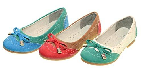 Mädchen Ballerina Gr.31-36 Schuhe Slipper Ballerinas blau grün Blau-Grün