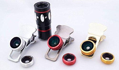 Mengshen® Universal-Clip 4 in 1 Kamera-Objektiv-Kit 10x optischer Zoom Teleskop + Fischaugen-Objektiv + Weitwinkel + Makroobjektiv für iPhone iPad Samsung HTC EINS Smartphones MS-IC807Gold