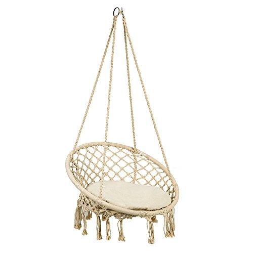 Sedia sospesa ad altalena, sedia hanging con cuscini, lavorata a maglia con corda in cotone, sedia amaca ad altalena per interni/esterni, patio, terrazzi, cortile, giardino, bar poltrona sospesa
